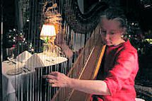 Amy plays her harp in the dining room